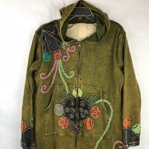 Rising International Hoodie trench coat embellish